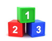 Learning cubes 3d. 3d learning cubes with numbers Stock Image