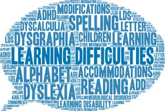 Learning Difficulties Word Cloud Stock Image