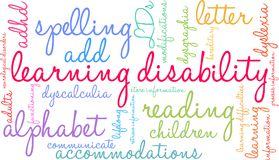 Learning Disability Word Cloud Royalty Free Stock Photography