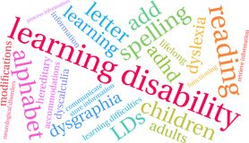 Learning Disability Word Cloud Stock Photo
