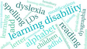 Learning Disability Word Cloud Royalty Free Stock Photos