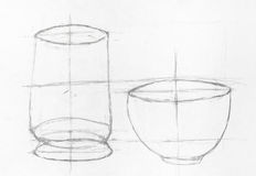 Learning drawing two bowls Stock Photography