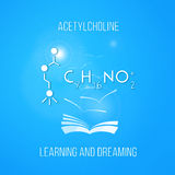 Learning and dreaming concept. Acetylcholine. Learn chemistry and dream. Educational poster with book Stock Photos
