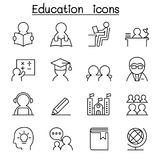 Learning & Education icon set in thin line style. Learning & Education icon set in thin line style vector illustration graphic design Stock Photos