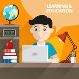 Learning and education. Schoolboy sitting at table and doing homework with books and computer. Education and back to school flat style illustration for web Royalty Free Stock Images