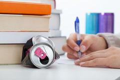 Learning with energy drinks Stock Images