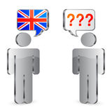 Learning english concept. Abstract human figures with speech bubbles over their heads Stock Photography