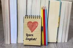 Learning English Concept with Books and Pencils Royalty Free Stock Photos