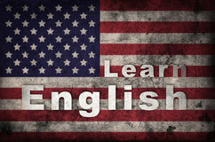 Learning english concept. USA flag. Learning english concept. Grunge USA flag background Royalty Free Stock Images