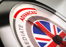 Learning English, Course Level. Close up of a dial with blur effect and the needle pointing the word advanced. Conceptual Illustration of English courses level Royalty Free Stock Image