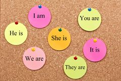 Learning English Grammar on cork board. Verb to be stock photos