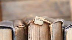 Learning english idea, tag and retro books. stock video