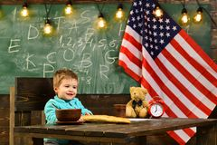 Learning english language in USA, independence day concept Stock Images