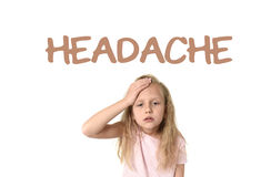 Learning English language vocabulary school card with the word headache stock photos