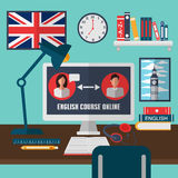 Learning English Online. Online Training Courses Royalty Free Stock Photography