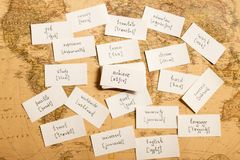 Learning english words. Achieve. Learning english words by cards. Achieve and transcription Stock Photography