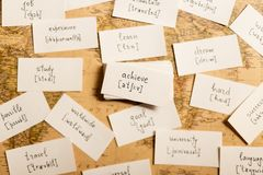Learning english words. Achieve. Learning english words by cards. Achieve and transcription Stock Image