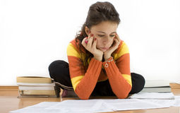 Learning for an exam. Student learning for an exam Royalty Free Stock Image
