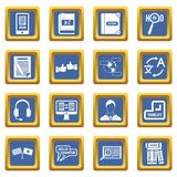 Learning foreign languages icons set blue Royalty Free Stock Image