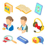 Learning foreign languages icons set cartoon style Stock Image