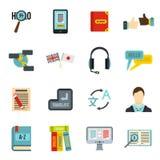 Learning foreign languages icons set, flat style Stock Photo