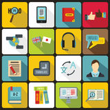 Learning foreign languages icons set, flat style Stock Photos