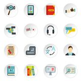 Learning foreign languages icons set, flat style Royalty Free Stock Photography