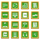 Learning foreign languages icons set green Royalty Free Stock Image