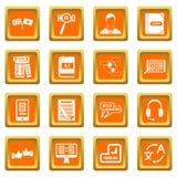Learning foreign languages icons set orange Royalty Free Stock Photo