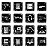 Learning foreign languages icons set, simple style Royalty Free Stock Images