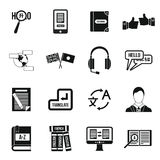 Learning foreign languages icons set, simple style Stock Image