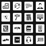 Learning foreign languages icons set squares Stock Photography