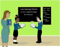 Learning french class. An illustration of children learning a new language in a class room Royalty Free Stock Photography