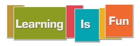 Learning Is Fun Various Color Boxes. Learning is fun text written over colorful background Royalty Free Stock Photography