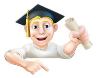 Learning graduate man pointing down. An illustration of a man in graduate mortar board hat holding a scroll certificate, diploma or other qualification, peeping Stock Photos