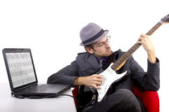 Learning Guitar Online Stock Photography