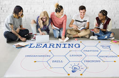 Learning Hexagon Pattern Diagram Graphic Icon. Students Learning Hexagon Pattern Diagram Icon Stock Photos