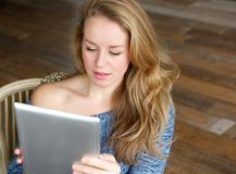 Learning how to use touchscreen tablet Stock Images