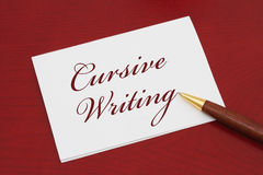 Learning how to write cursive Royalty Free Stock Image