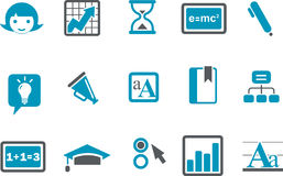 Learning Icon Set. Vector icons pack - Blue Series, learning collection Stock Photos