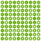100 learning icons hexagon green. 100 learning icons set in green hexagon isolated vector illustration Stock Photography