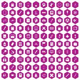 100 learning icons hexagon violet. 100 learning icons set in violet hexagon isolated vector illustration Stock Photo