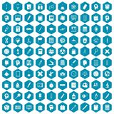 100 learning icons sapphirine violet. 100 learning icons set in sapphirine hexagon isolated vector illustration Royalty Free Stock Photography