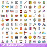 100 learning icons set, cartoon style. 100 learning icons set. Cartoon illustration of 100 learning vector icons isolated on white background Royalty Free Stock Photos