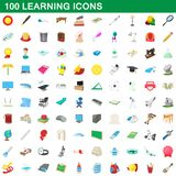 100 learning icons set, cartoon style. 100 learning icons set in cartoon style for any design illustration royalty free illustration