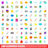100 learning icons set, cartoon style. 100 learning icons set in cartoon style for any design vector illustration Royalty Free Stock Images