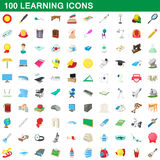 100 learning icons set, cartoon style Stock Image