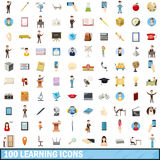 100 learning icons set, cartoon style Stock Images