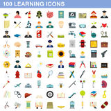 100 learning icons set, flat style Royalty Free Stock Image