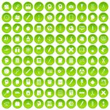 100 learning icons set green. 100 learning icons set in green circle isolated on white vectr illustration stock illustration